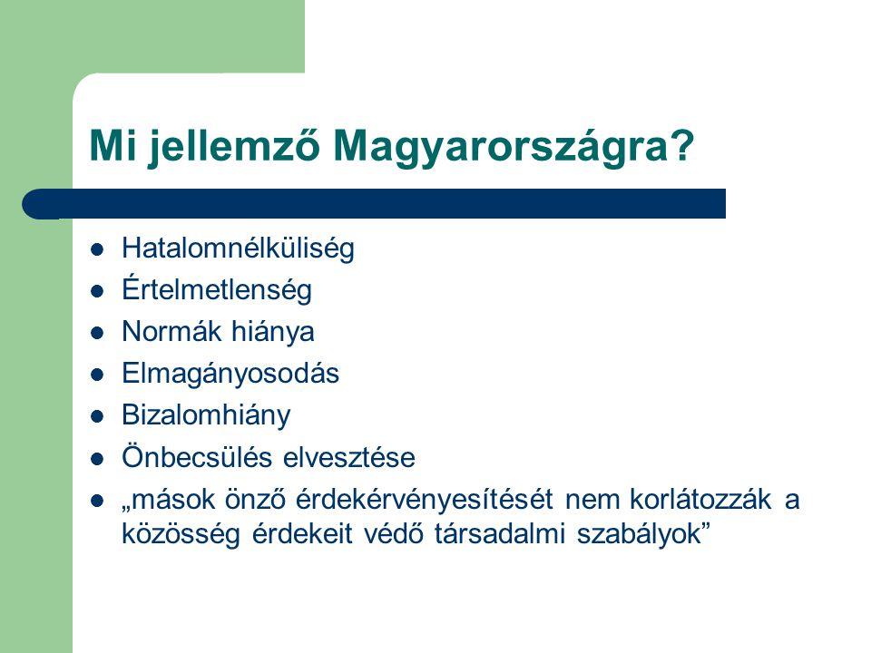 """Mi jellemző Magyarországra? Hatalomnélküliség Értelmetlenség Normák hiánya Elmagányosodás Bizalomhiány Önbecsülés elvesztése """"mások önző érdekérvényes"""