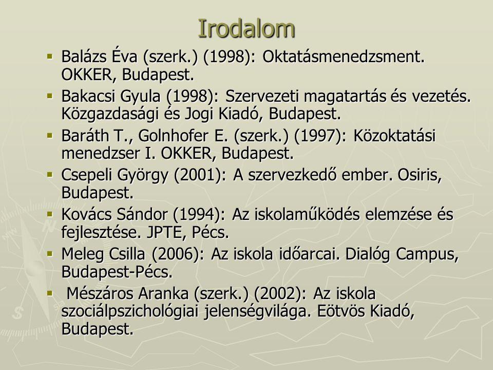 Irodalom  Balázs Éva (szerk.) (1998): Oktatásmenedzsment. OKKER, Budapest.  Bakacsi Gyula (1998): Szervezeti magatartás és vezetés. Közgazdasági és