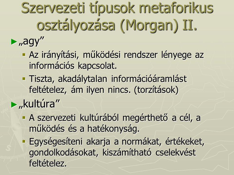 """Szervezeti típusok metaforikus osztályozása (Morgan) II. ► """"agy""""  Az irányítási, működési rendszer lényege az információs kapcsolat.  Tiszta, akadál"""