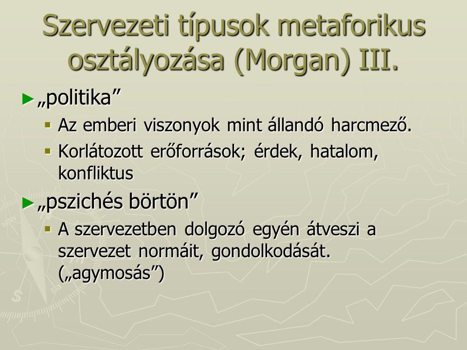 """Szervezeti típusok metaforikus osztályozása (Morgan) III. ► """"politika""""  Az emberi viszonyok mint állandó harcmező.  Korlátozott erőforrások; érdek,"""