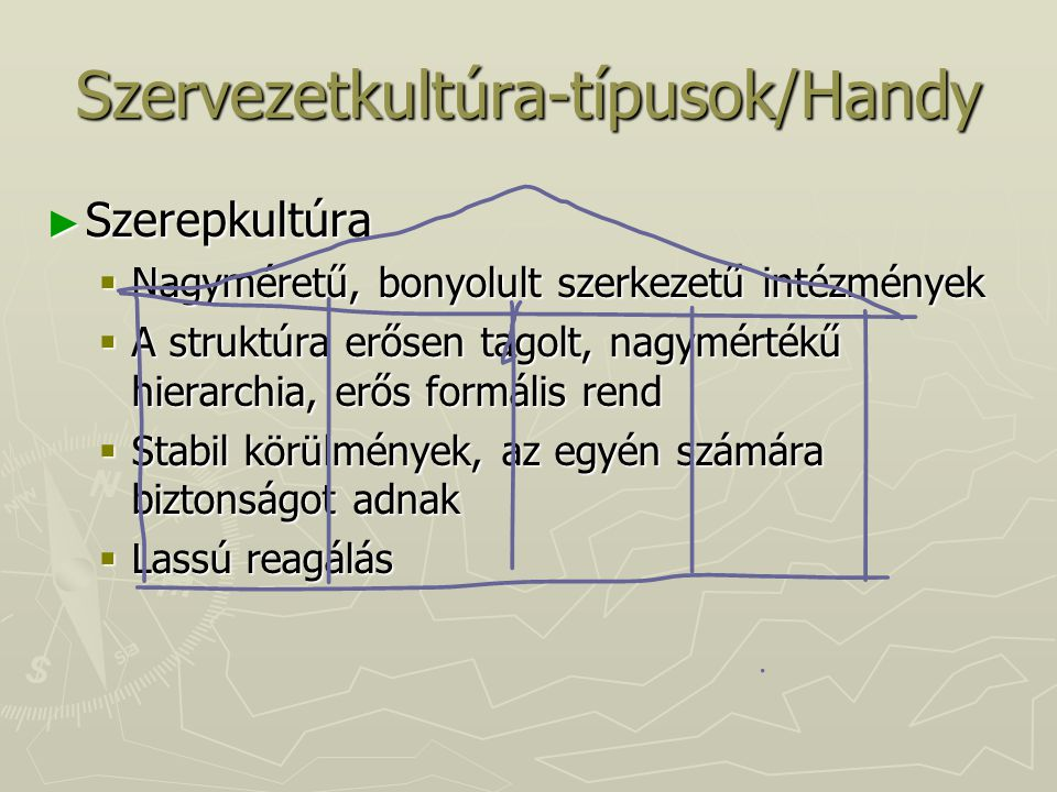 Szervezetkultúra-típusok/Handy ► Szerepkultúra  Nagyméretű, bonyolult szerkezetű intézmények  A struktúra erősen tagolt, nagymértékű hierarchia, erő