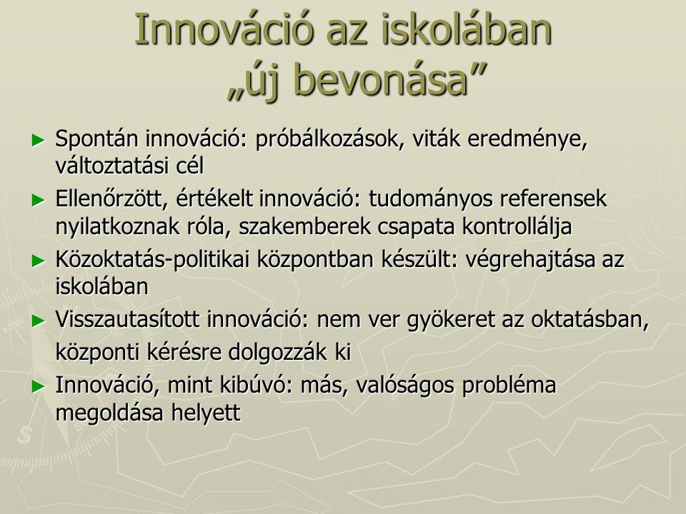"""Innováció az iskolában """"új bevonása"""" ► Spontán innováció: próbálkozások, viták eredménye, változtatási cél ► Ellenőrzött, értékelt innováció: tudomány"""