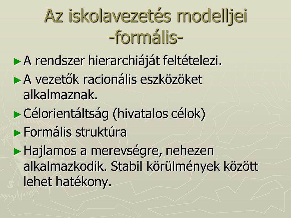 Az iskolavezetés modelljei -formális- ► A rendszer hierarchiáját feltételezi. ► A vezetők racionális eszközöket alkalmaznak. ► Célorientáltság (hivata