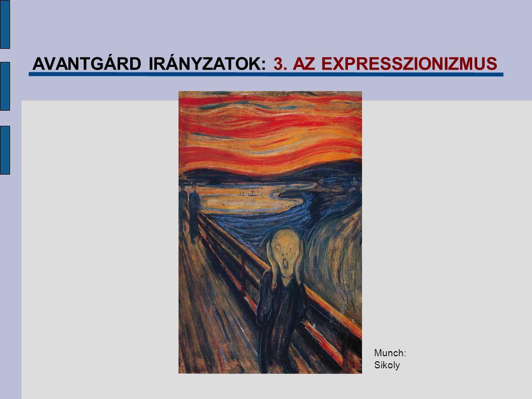 AVANTGÁRD IRÁNYZATOK: 3. AZ EXPRESSZIONIZMUS Munch: Sikoly