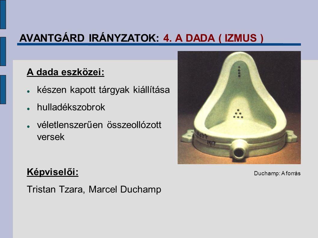 AVANTGÁRD IRÁNYZATOK: 4. A DADA ( IZMUS ) A dada eszközei: készen kapott tárgyak kiállítása hulladékszobrok véletlenszerűen összeollózott versek Képvi
