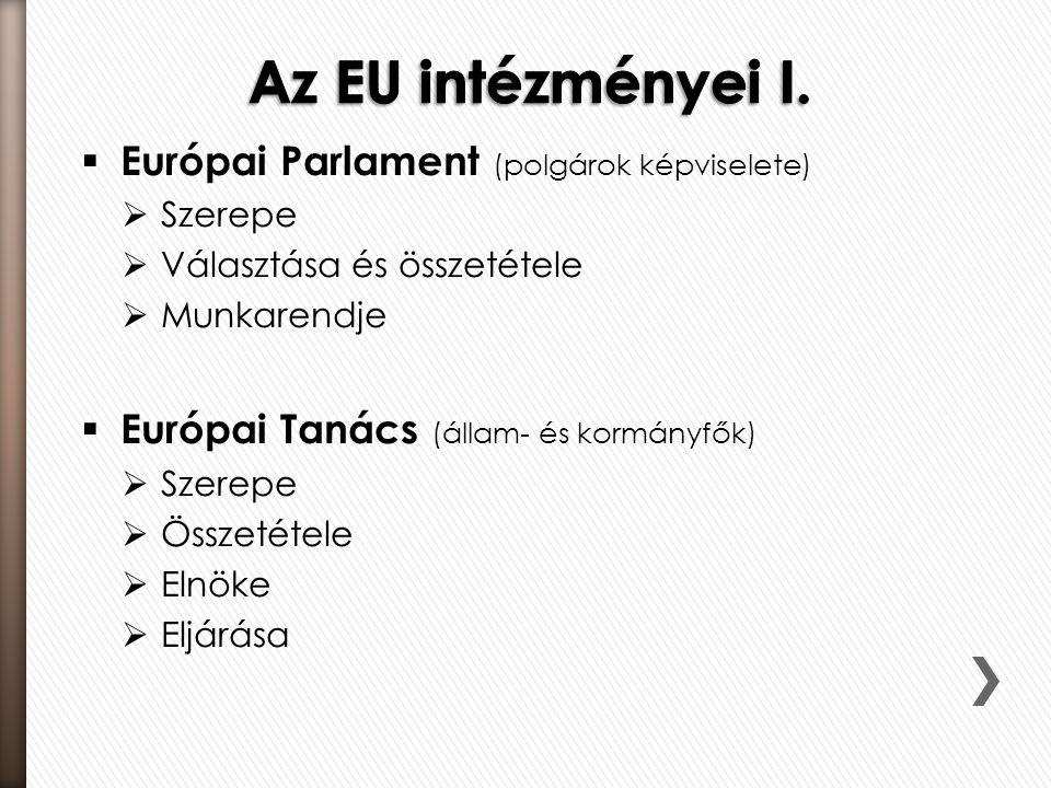  Európai Parlament (polgárok képviselete)  Szerepe  Választása és összetétele  Munkarendje  Európai Tanács (állam- és kormányfők)  Szerepe  Öss