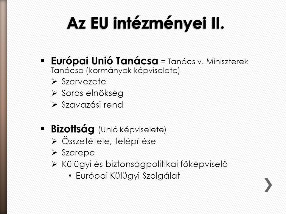  Európai Unió Tanácsa = Tanács v. Miniszterek Tanácsa (kormányok képviselete)  Szervezete  Soros elnökség  Szavazási rend  Bizottság (Unió képvis