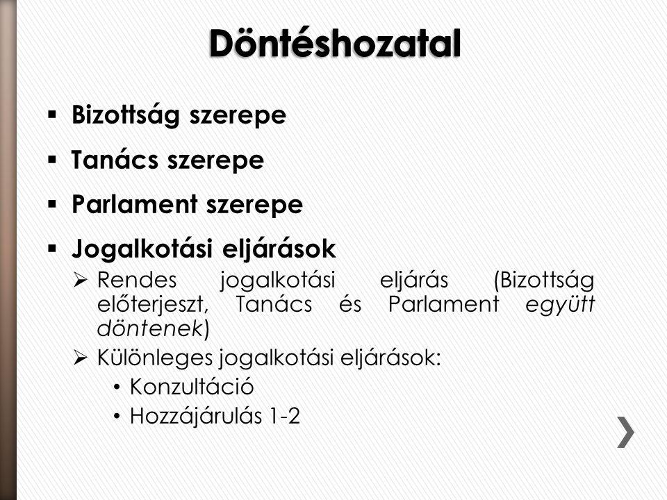  Bizottság szerepe  Tanács szerepe  Parlament szerepe  Jogalkotási eljárások  Rendes jogalkotási eljárás (Bizottság előterjeszt, Tanács és Parlam