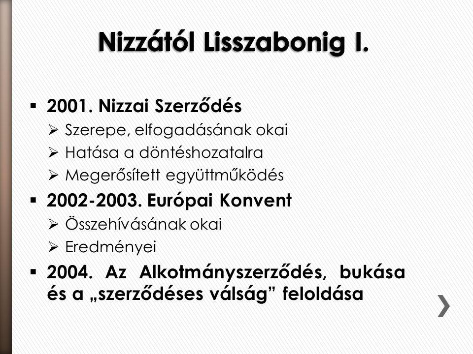  2001. Nizzai Szerződés  Szerepe, elfogadásának okai  Hatása a döntéshozatalra  Megerősített együttműködés  2002-2003. Európai Konvent  Összehív
