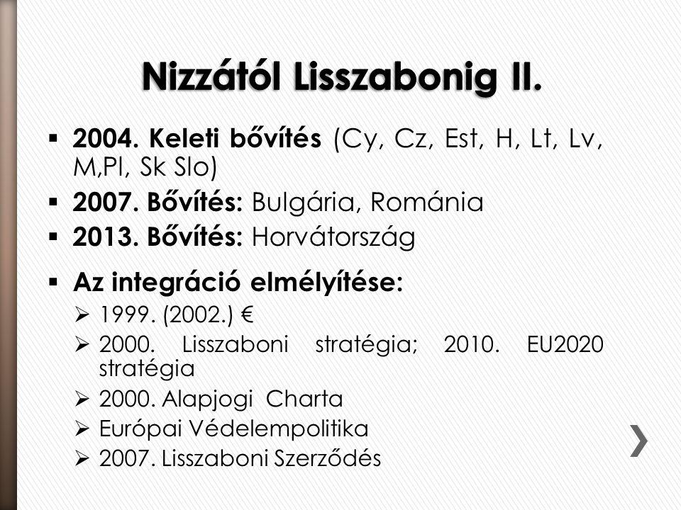  2004. Keleti bővítés (Cy, Cz, Est, H, Lt, Lv, M,Pl, Sk Slo)  2007. Bővítés: Bulgária, Románia  2013. Bővítés: Horvátország  Az integráció elmélyí