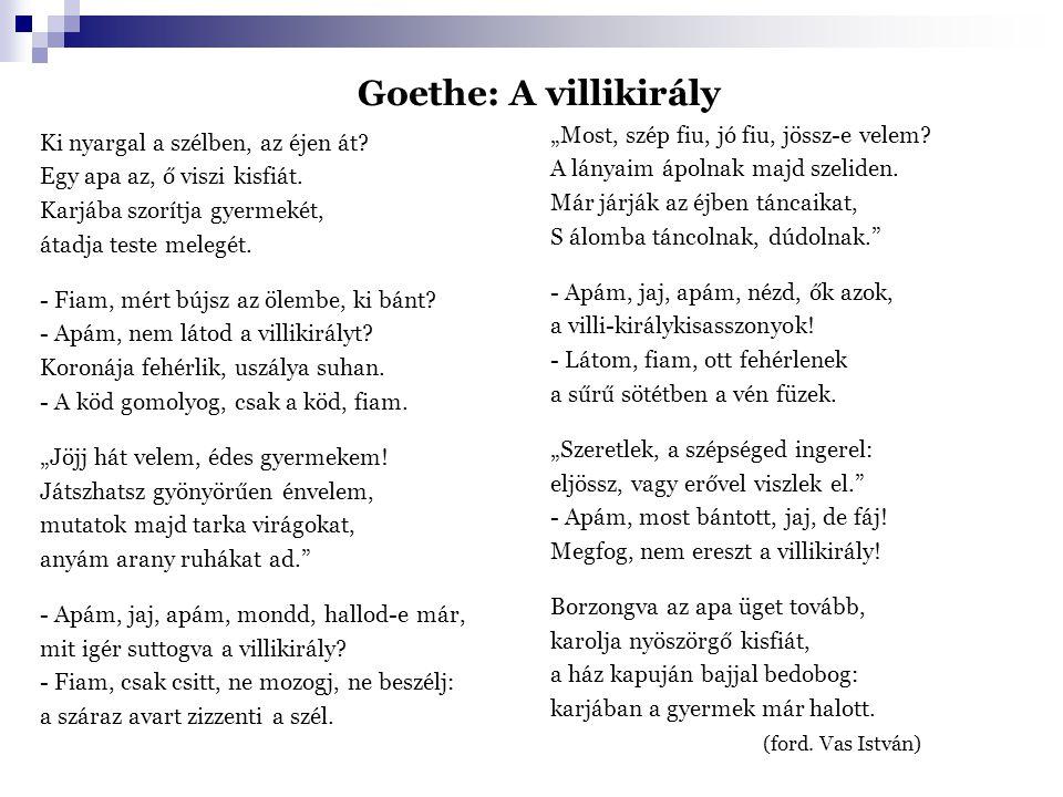 Goethe: A villikirály Ki nyargal a szélben, az éjen át? Egy apa az, ő viszi kisfiát. Karjába szorítja gyermekét, átadja teste melegét. - Fiam, mért bú