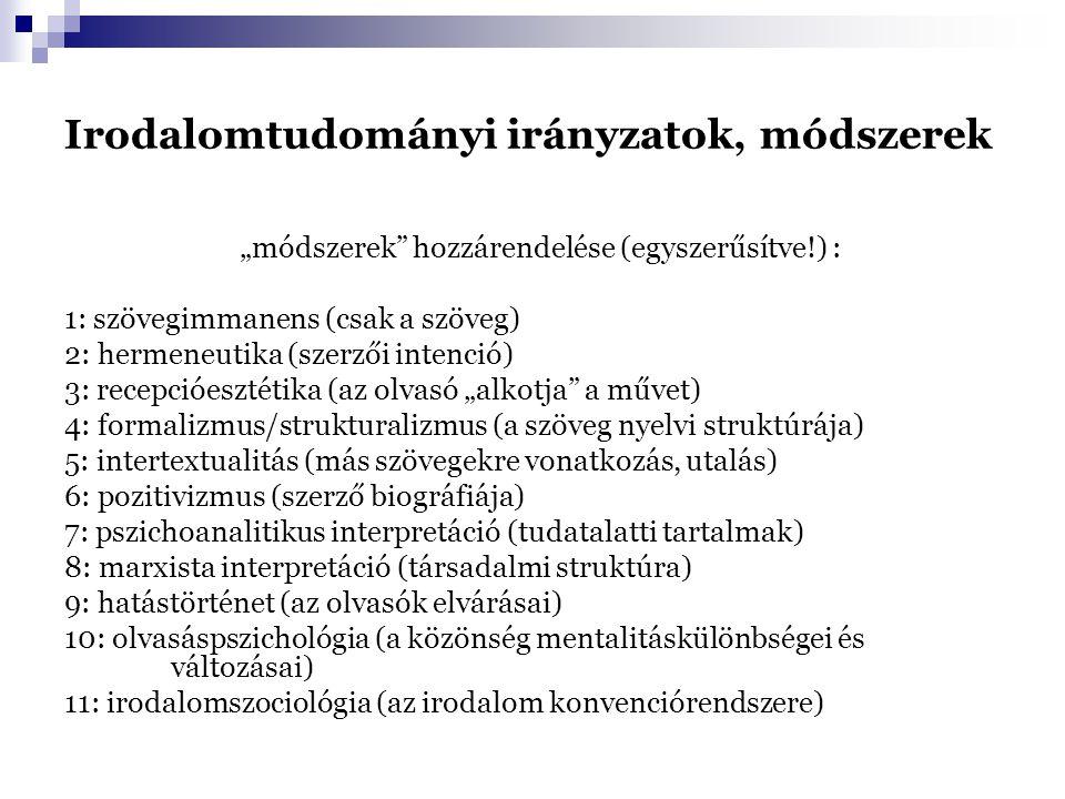 """Irodalomtudományi irányzatok, módszerek """"módszerek"""" hozzárendelése (egyszerűsítve!) : 1: szövegimmanens (csak a szöveg) 2: hermeneutika (szerzői inten"""