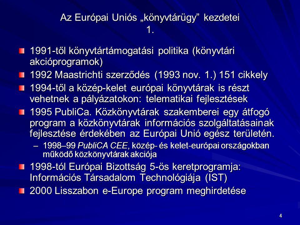 """4 Az Európai Uniós """"könyvtárügy"""" kezdetei 1. 1991-től könyvtártámogatási politika (könyvtári akcióprogramok) 1992 Maastrichti szerződés (1993 nov. 1.)"""