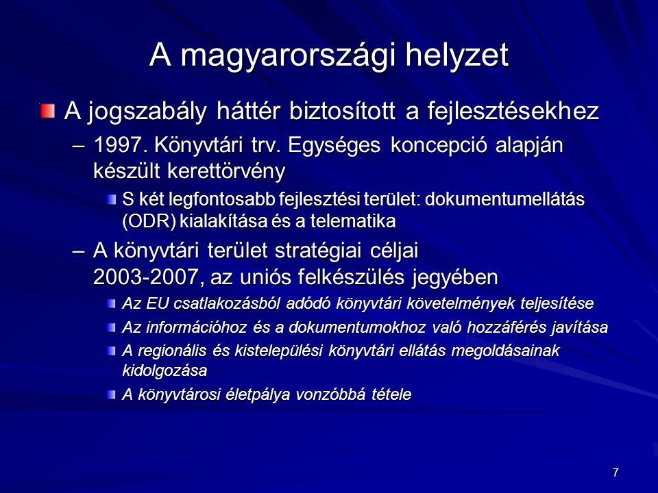7 A magyarországi helyzet A jogszabály háttér biztosított a fejlesztésekhez –1997. Könyvtári trv. Egységes koncepció alapján készült kerettörvény S ké