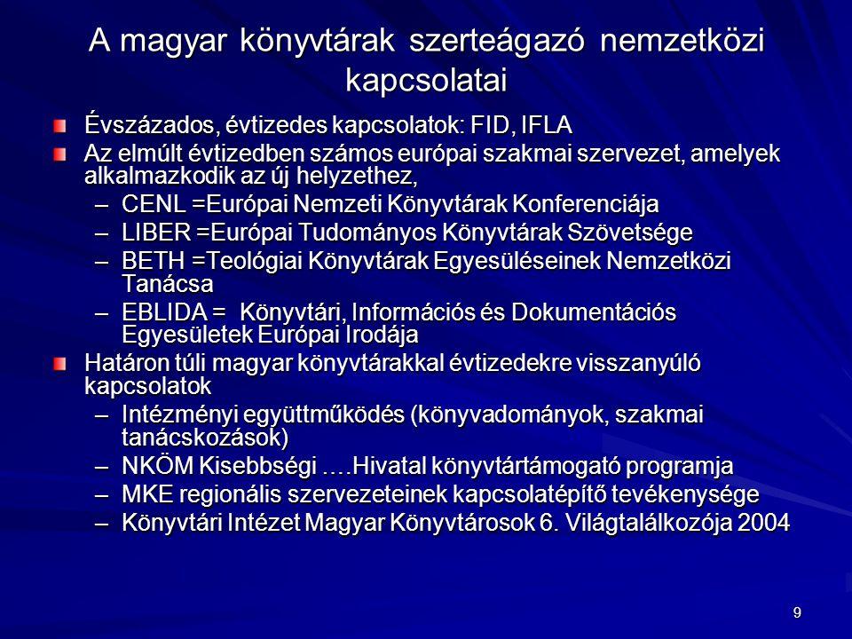 9 A magyar könyvtárak szerteágazó nemzetközi kapcsolatai Évszázados, évtizedes kapcsolatok: FID, IFLA Az elmúlt évtizedben számos európai szakmai szer