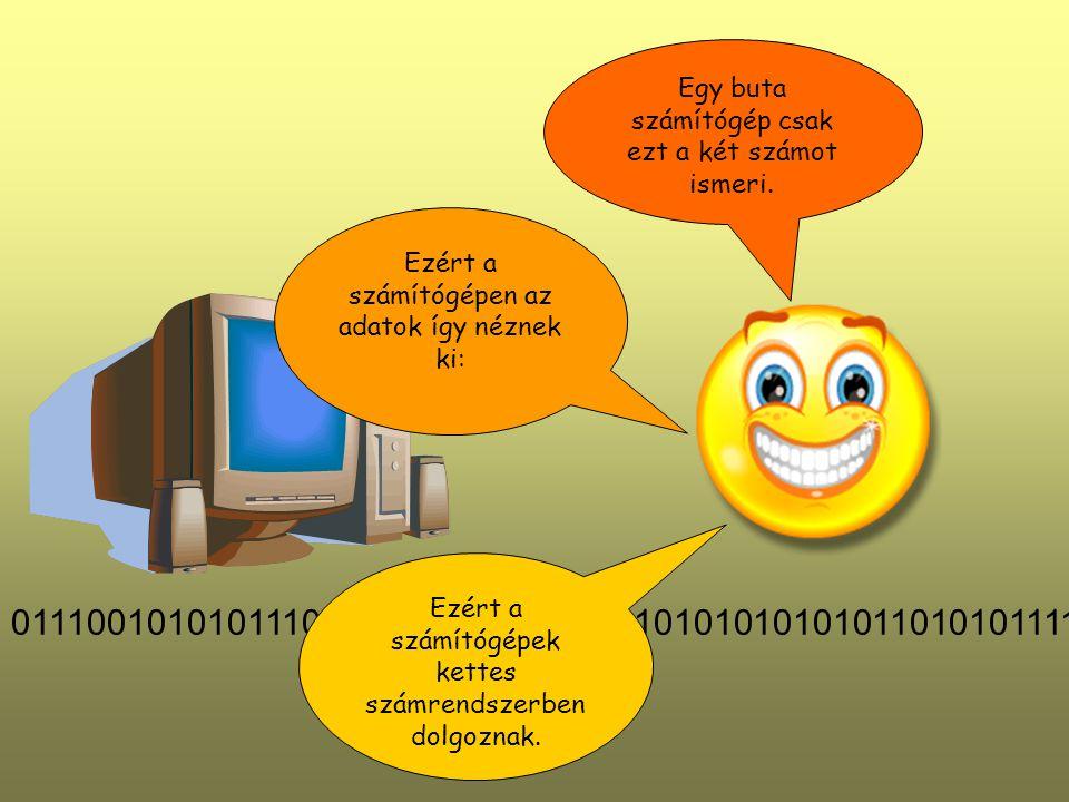 Egy buta számítógép csak ezt a két számot ismeri. Ezért a számítógépen az adatok így néznek ki: 011100101010111010101010101011101010101010101101010111