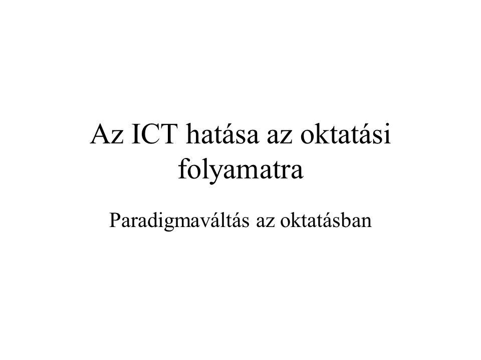 Az ICT hatása az oktatási folyamatra Paradigmaváltás az oktatásban