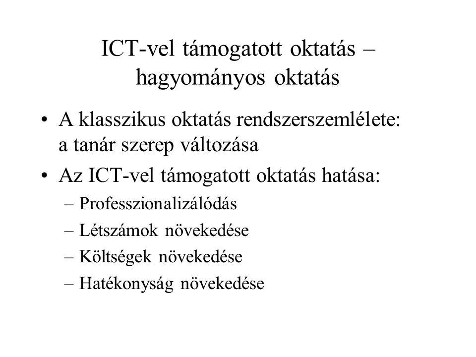 ICT-vel támogatott oktatás – hagyományos oktatás A klasszikus oktatás rendszerszemlélete: a tanár szerep változása Az ICT-vel támogatott oktatás hatása: –Professzionalizálódás –Létszámok növekedése –Költségek növekedése –Hatékonyság növekedése