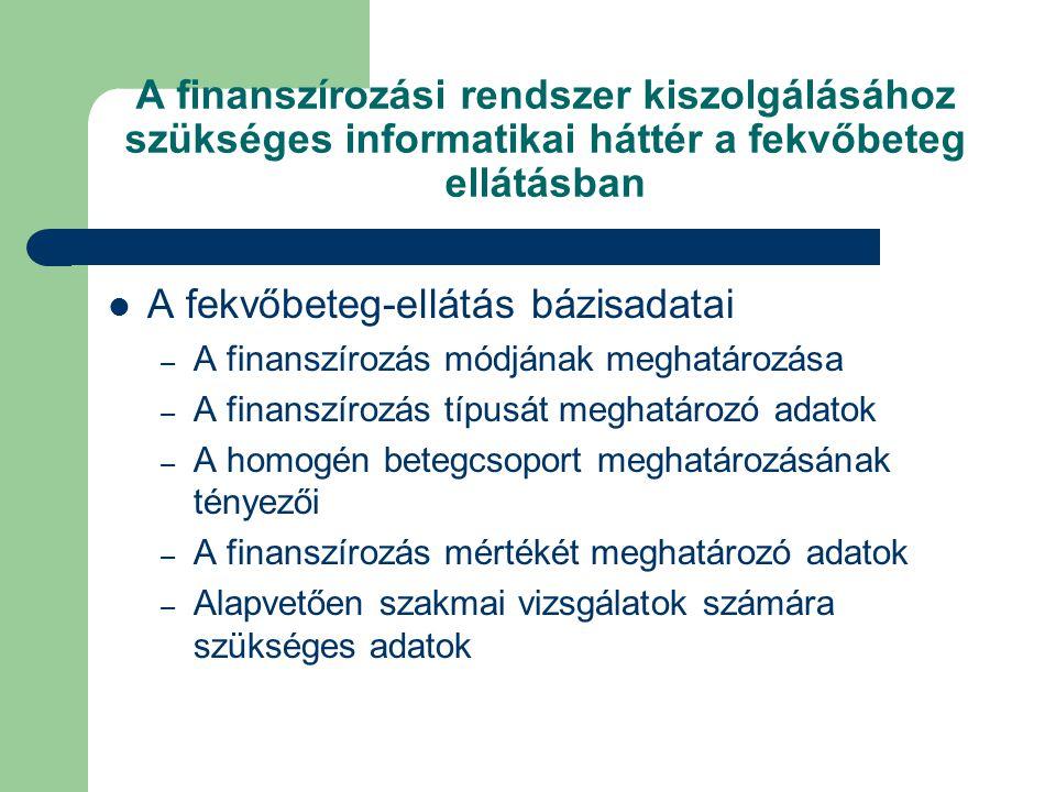 A finanszírozási rendszer kiszolgálásához szükséges informatikai háttér a fekvőbeteg ellátásban A fekvőbeteg-ellátás bázisadatai – A finanszírozás módjának meghatározása – A finanszírozás típusát meghatározó adatok – A homogén betegcsoport meghatározásának tényezői – A finanszírozás mértékét meghatározó adatok – Alapvetően szakmai vizsgálatok számára szükséges adatok