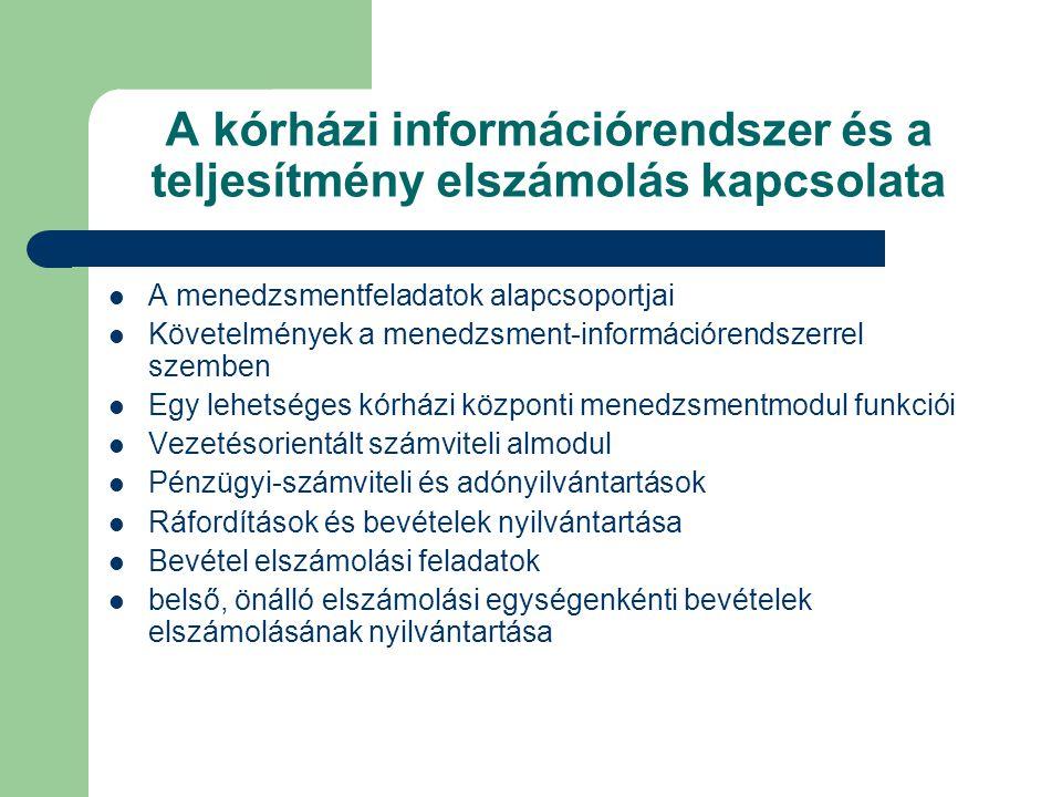 A kórházi információrendszer és a teljesítmény elszámolás kapcsolata A menedzsmentfeladatok alapcsoportjai Követelmények a menedzsment-információrendszerrel szemben Egy lehetséges kórházi központi menedzsmentmodul funkciói Vezetésorientált számviteli almodul Pénzügyi-számviteli és adónyilvántartások Ráfordítások és bevételek nyilvántartása Bevétel elszámolási feladatok belső, önálló elszámolási egységenkénti bevételek elszámolásának nyilvántartása