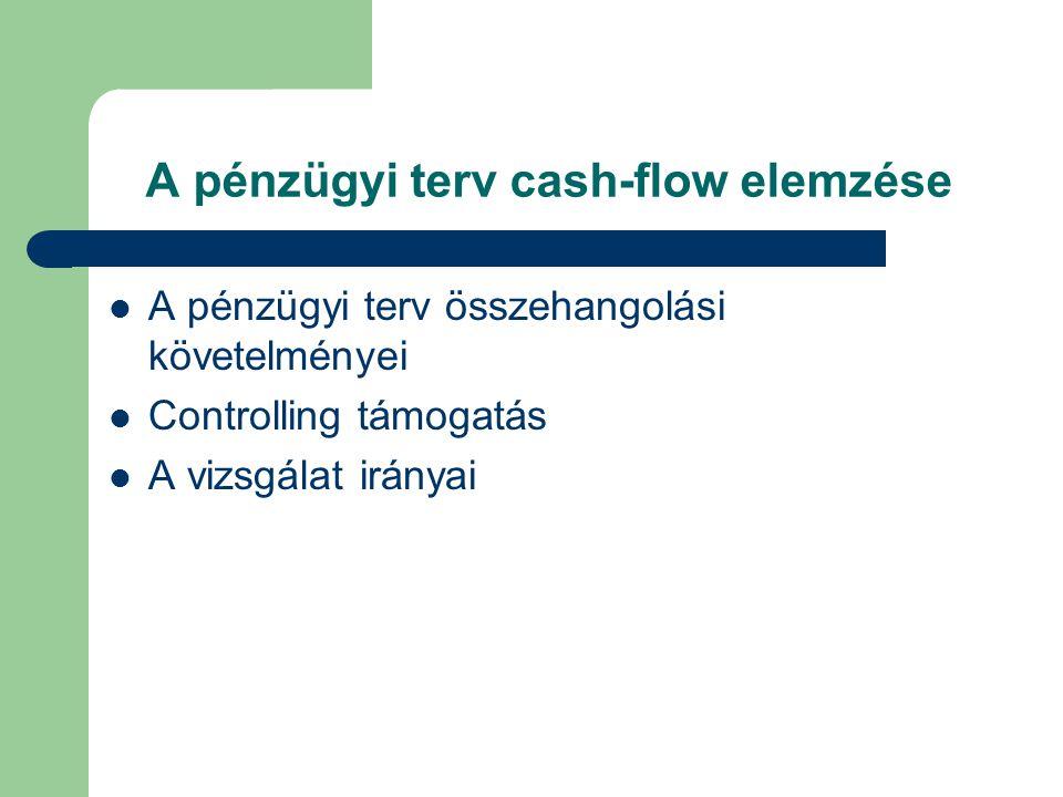 A pénzügyi terv cash-flow elemzése A pénzügyi terv összehangolási követelményei Controlling támogatás A vizsgálat irányai