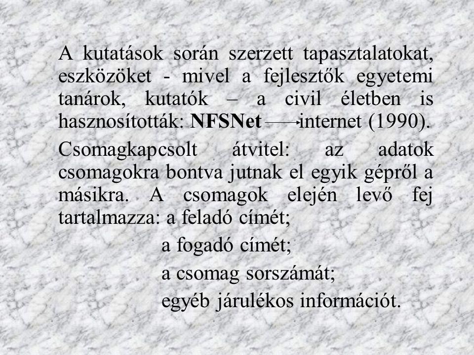 A kutatások során szerzett tapasztalatokat, eszközöket - mivel a fejlesztők egyetemi tanárok, kutatók – a civil életben is hasznosították: NFSNet internet (1990).