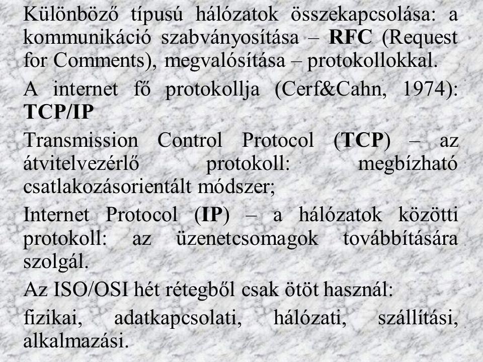 Különböző típusú hálózatok összekapcsolása: a kommunikáció szabványosítása – RFC (Request for Comments), megvalósítása – protokollokkal.
