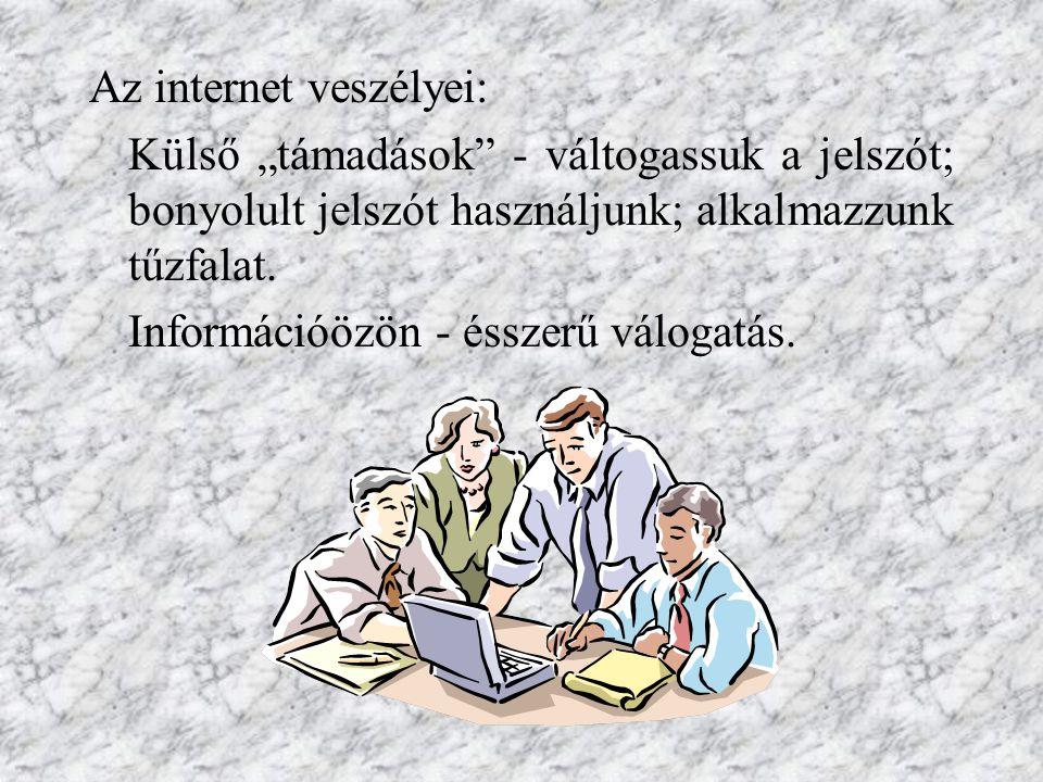 """Az internet veszélyei: Külső """"támadások - váltogassuk a jelszót; bonyolult jelszót használjunk; alkalmazzunk tűzfalat."""