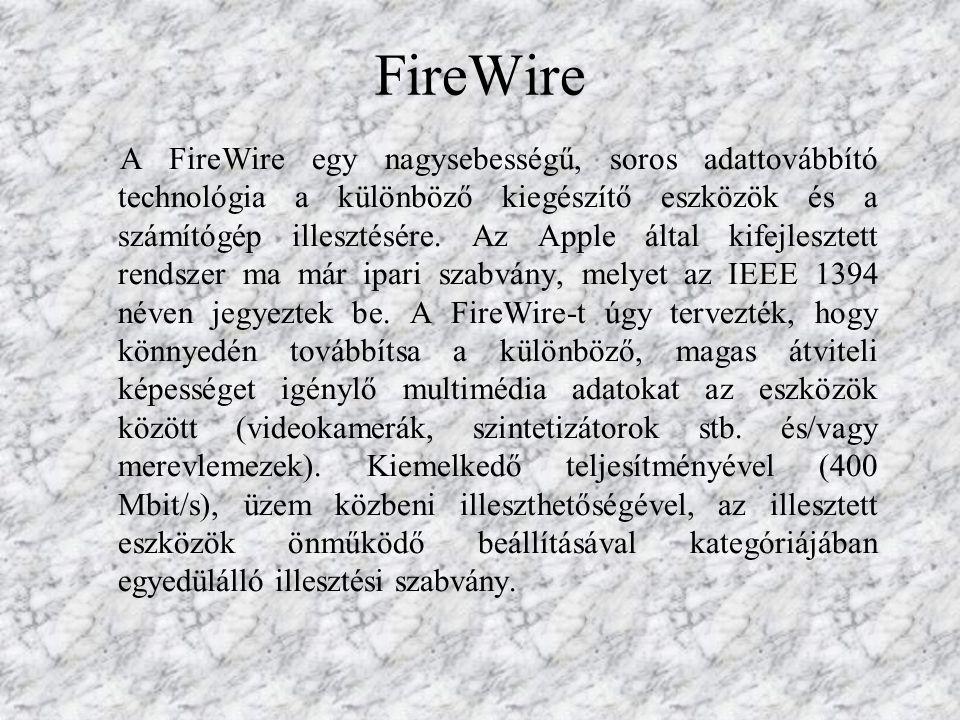 A FireWire egy nagysebességű, soros adattovábbító technológia a különböző kiegészítő eszközök és a számítógép illesztésére.