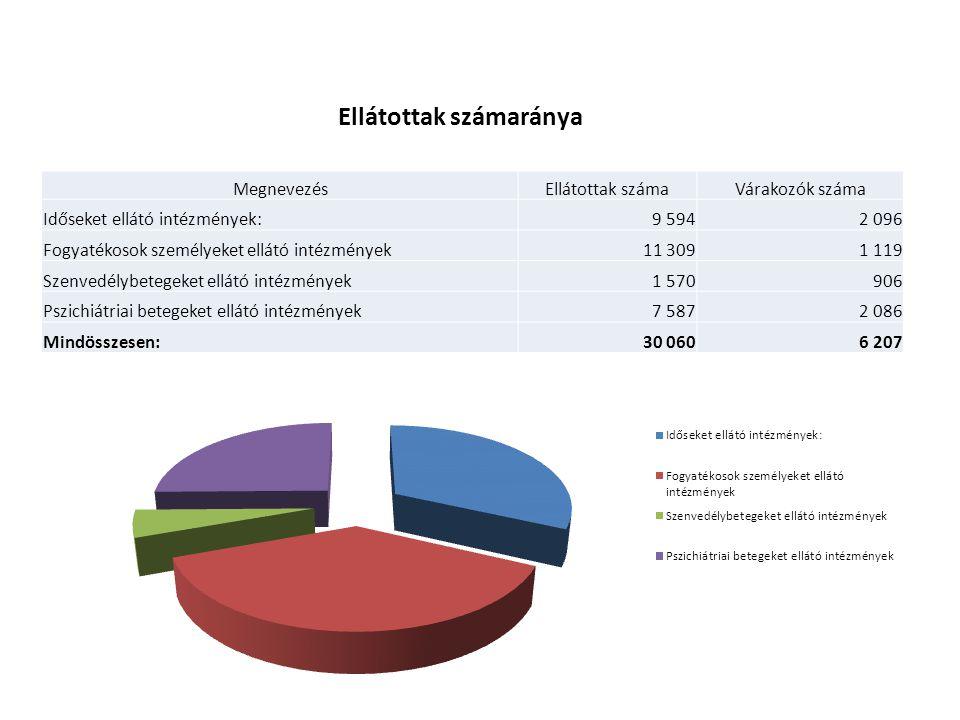 MegnevezésEllátottak számaVárakozók száma Időseket ellátó intézmények:9 5942 096 Fogyatékosok személyeket ellátó intézmények11 3091 119 Szenvedélybetegeket ellátó intézmények1 570906 Pszichiátriai betegeket ellátó intézmények7 5872 086 Mindösszesen:30 0606 207 Ellátottak számaránya