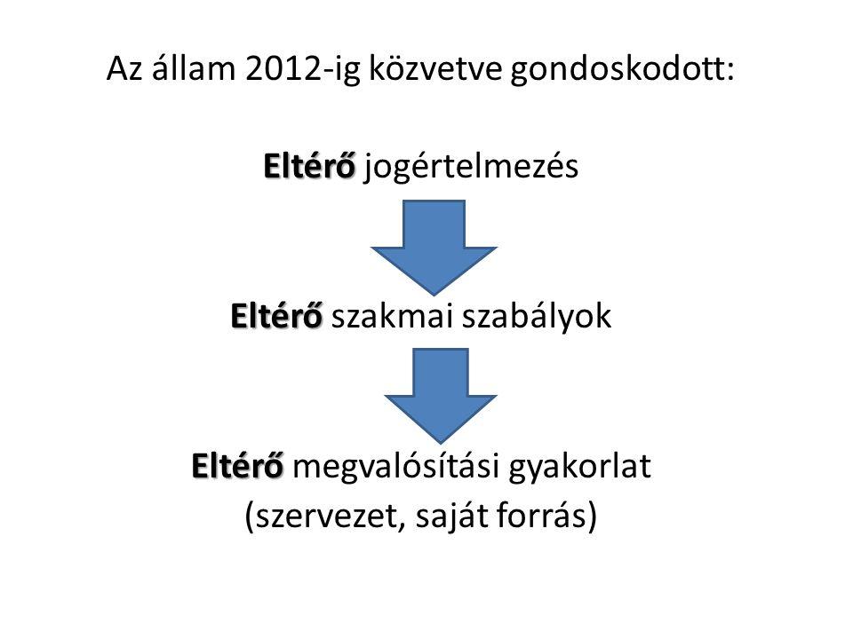 Az állam 2012-ig közvetve gondoskodott: Eltérő Eltérő jogértelmezés Eltérő Eltérő szakmai szabályok Eltérő Eltérő megvalósítási gyakorlat (szervezet, saját forrás)