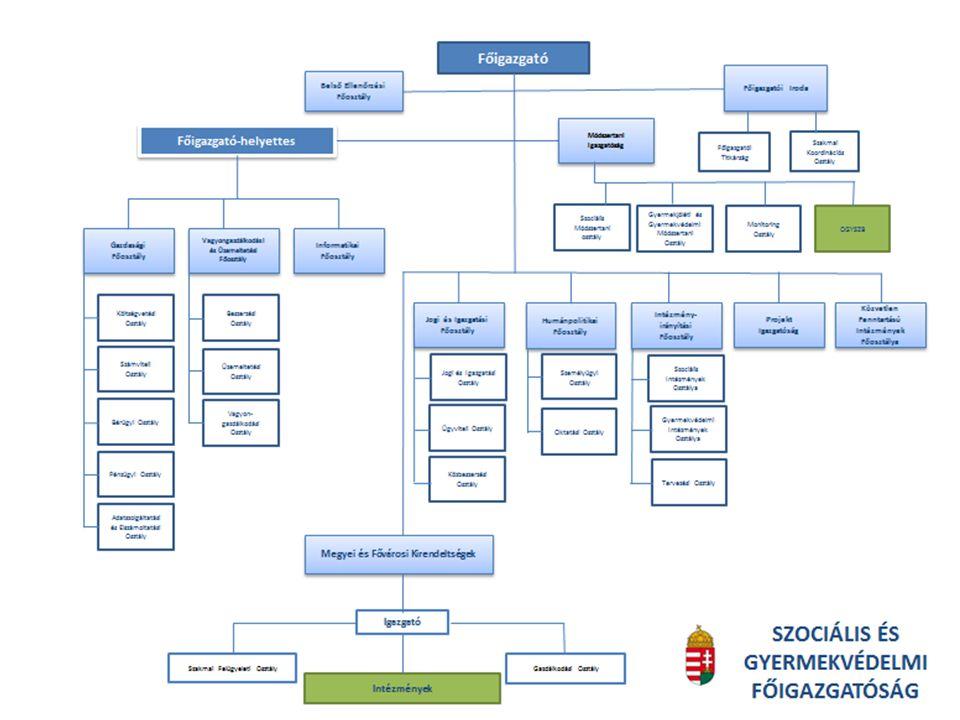 Mérföldkövek Települési önkormányzatoktól átvett intézmények (2013.január 1.): 18 szociális, 28 gyermekvédelmi, 1 vegyes profil Megyei Intézményfenntartó Központoktól átvett intézmények: 83 szociális, 24 gyermekvédelmi, 4 vegyes profil Megyei Intézményfenntartó Központ SZGYF Megyei Kirendeltség (2013.
