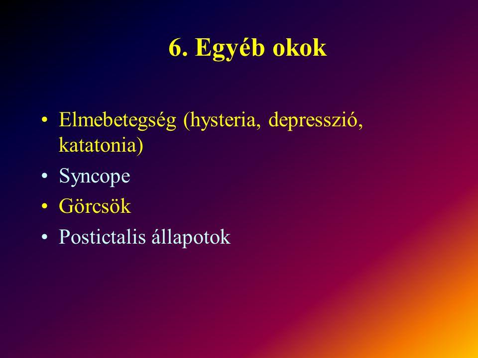 6. Egyéb okok Elmebetegség (hysteria, depresszió, katatonia) Syncope Görcsök Postictalis állapotok