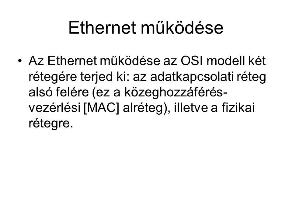 Ethernet működése Az Ethernet működése az OSI modell két rétegére terjed ki: az adatkapcsolati réteg alsó felére (ez a közeghozzáférés- vezérlési [MAC] alréteg), illetve a fizikai rétegre.