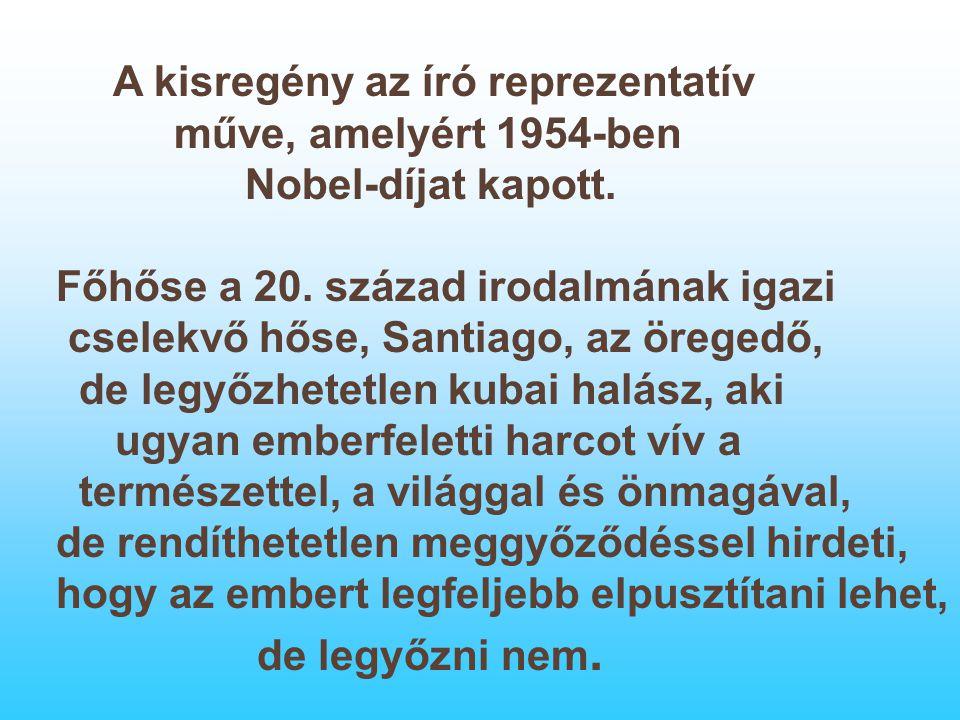 A kisregény az író reprezentatív műve, amelyért 1954-ben Nobel-díjat kapott. Főhőse a 20. század irodalmának igazi cselekvő hőse, Santiago, az öregedő