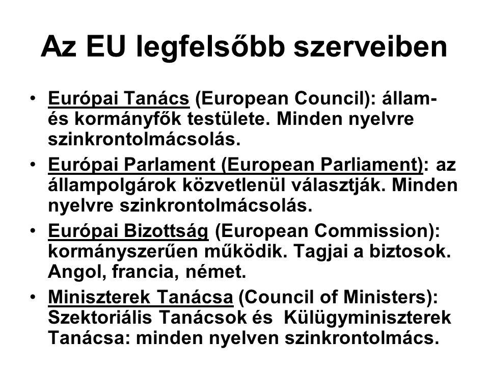 Az EU legfelsőbb szerveiben Európai Tanács (European Council): állam- és kormányfők testülete. Minden nyelvre szinkrontolmácsolás. Európai Parlament (