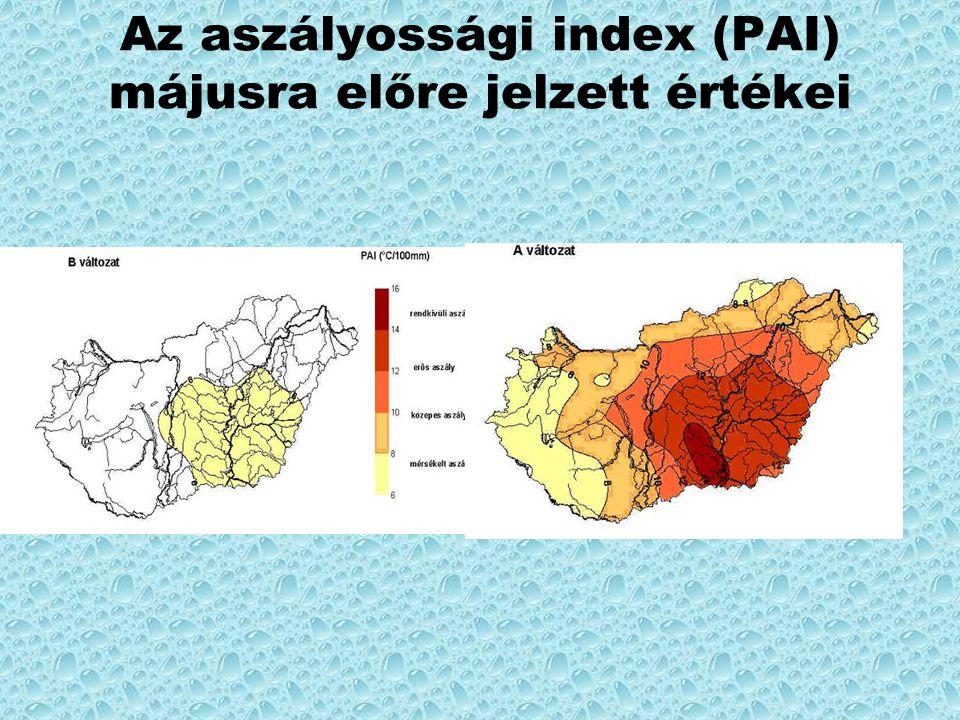 Az aszályossági index (PAI) májusra előre jelzett értékei