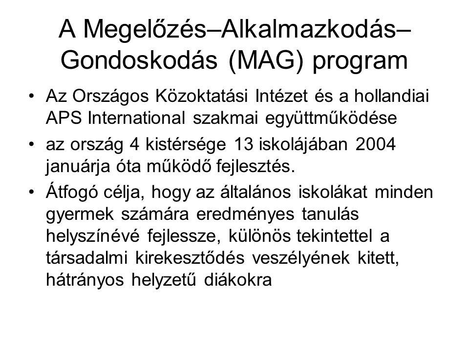 A Megelőzés–Alkalmazkodás– Gondoskodás (MAG) program Az Országos Közoktatási Intézet és a hollandiai APS International szakmai együttműködése az ország 4 kistérsége 13 iskolájában 2004 januárja óta működő fejlesztés.