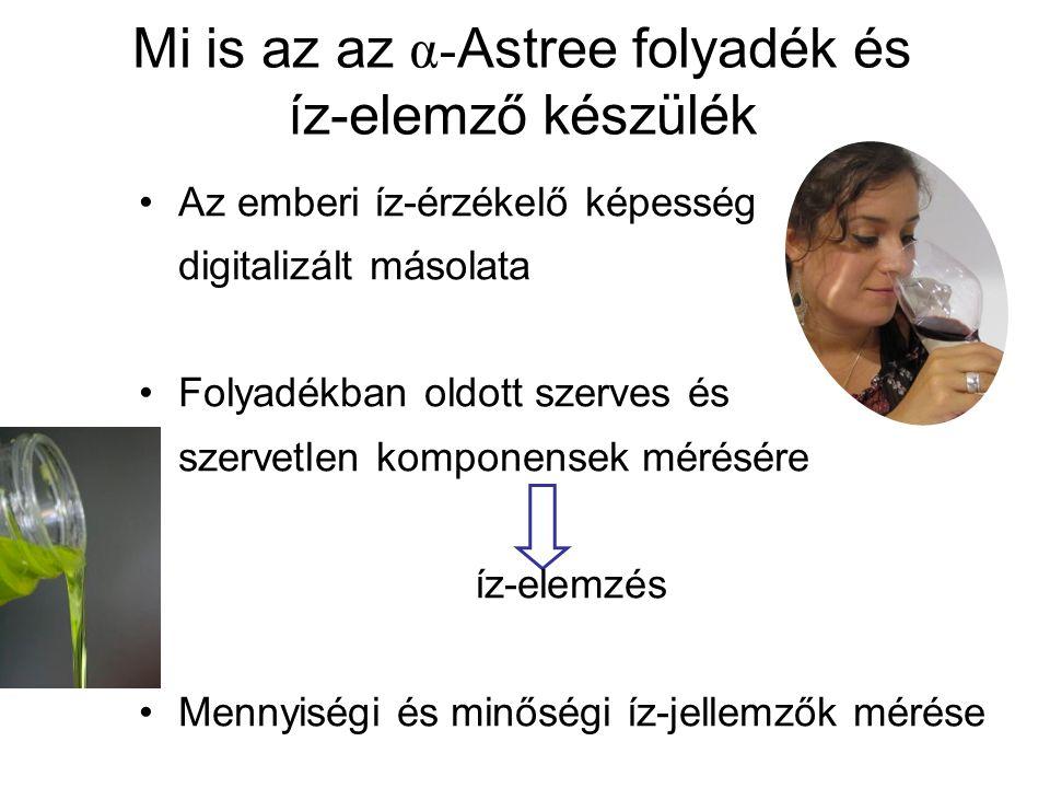 Mi is az az α- Astree folyadék és íz-elemző készülék Az emberi íz-érzékelő képesség digitalizált másolata Folyadékban oldott szerves és szervetlen komponensek mérésére íz-elemzés Mennyiségi és minőségi íz-jellemzők mérése
