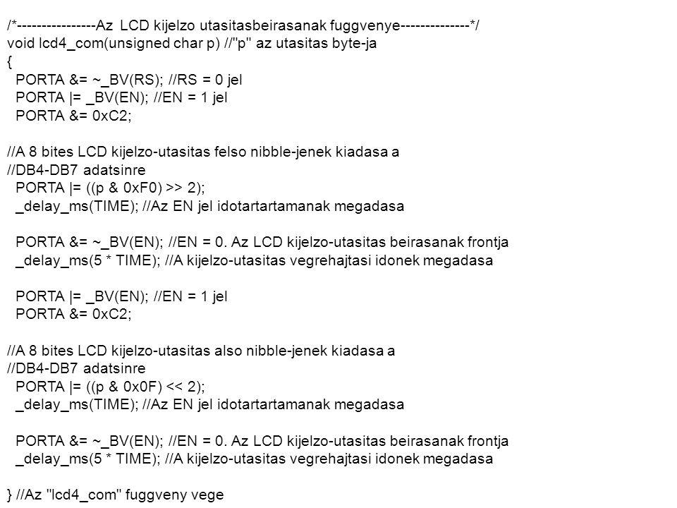 /*----------------Az LCD kijelzo utasitasbeirasanak fuggvenye--------------*/ void lcd4_com(unsigned char p) //