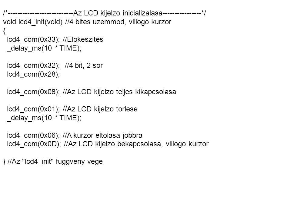 /*---------------------------Az LCD kijelzo inicializalasa----------------*/ void lcd4_init(void) //4 bites uzemmod, villogo kurzor { lcd4_com(0x33);