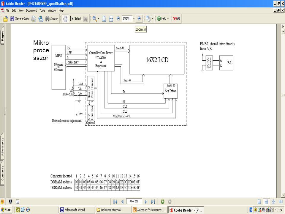 Mintaprojekt Az lcd.c kerüljön a makefile SRC sorába.