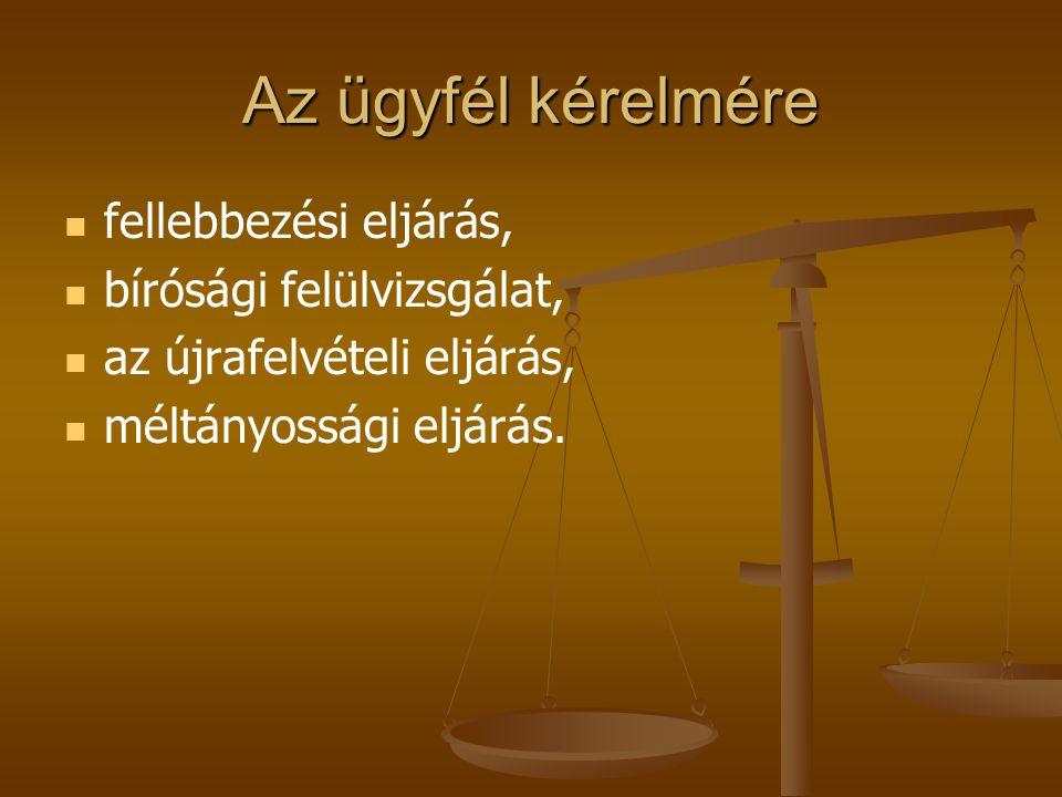 Az ügyfél kérelmére fellebbezési eljárás, bírósági felülvizsgálat, az újrafelvételi eljárás, méltányossági eljárás.