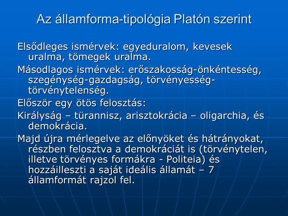 Az államforma-tipológia Platón szerint Elsődleges ismérvek: egyeduralom, kevesek uralma, tömegek uralma. Másodlagos ismérvek: erőszakosság-önkéntesség