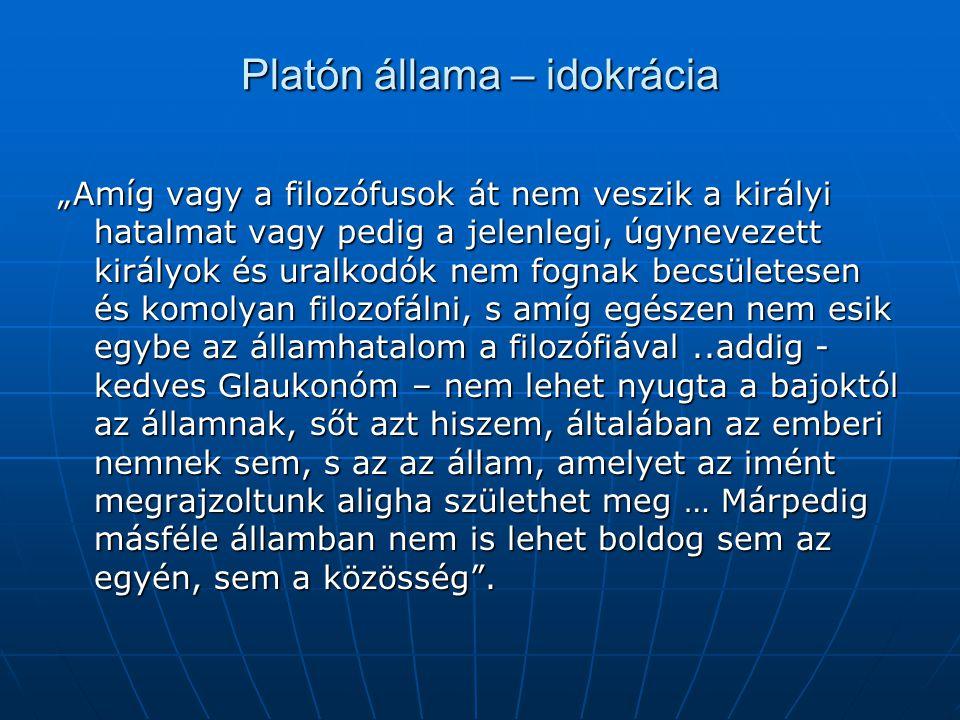 """Platón állama – idokrácia """"Amíg vagy a filozófusok át nem veszik a királyi hatalmat vagy pedig a jelenlegi, úgynevezett királyok és uralkodók nem fogn"""