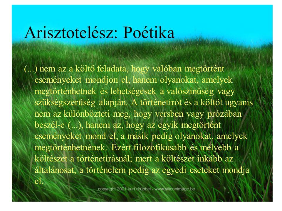 Arisztotelész: Poétika (...) nem az a költő feladata, hogy valóban megtörtént eseményeket mondjon el, hanem olyanokat, amelyek megtörténhetnek és lehe