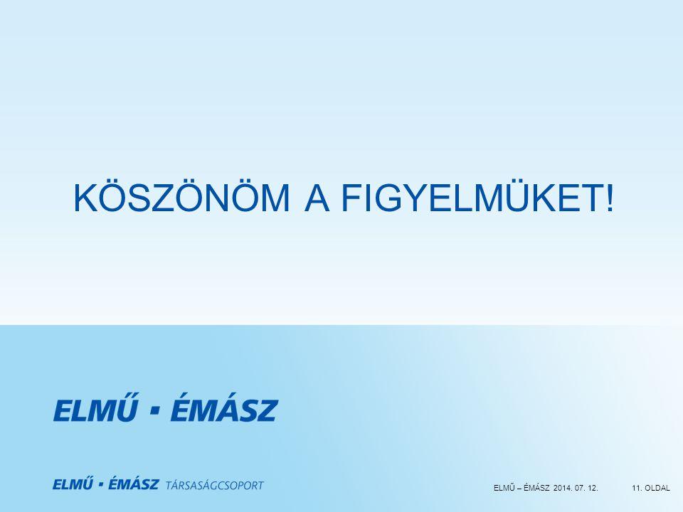 ELMŰ – ÉMÁSZ 2014. 07. 12.11. OLDAL KÖSZÖNÖM A FIGYELMÜKET!
