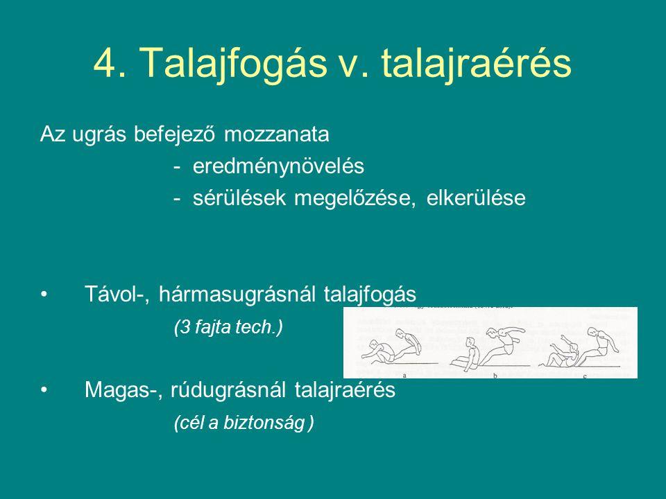 4. Talajfogás v. talajraérés Az ugrás befejező mozzanata - eredménynövelés - sérülések megelőzése, elkerülése Távol-, hármasugrásnál talajfogás (3 faj