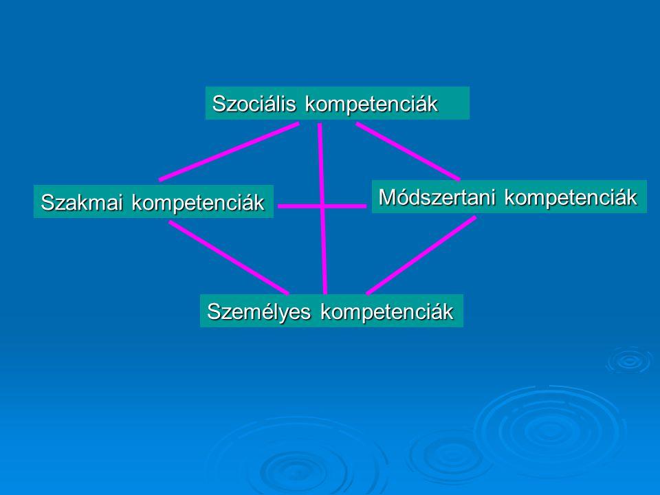 Szakmai kompetenciák Módszertani kompetenciák Szociális kompetenciák Személyes kompetenciák