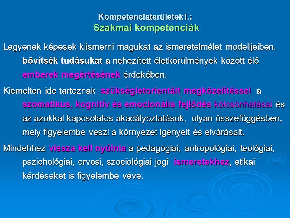 Kompetenciaterületek I.: Szakmai kompetenciák Legyenek képesek kiismerni magukat az ismeretelmélet modelljeiben, bővítsék tudásukat a nehezített életk